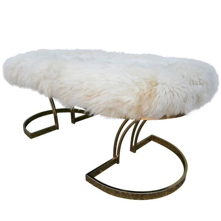 1970s Brass Bench with Sheepskin Seat