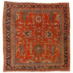 Antique Persian Heriz Square Rug with All-Over Pattern