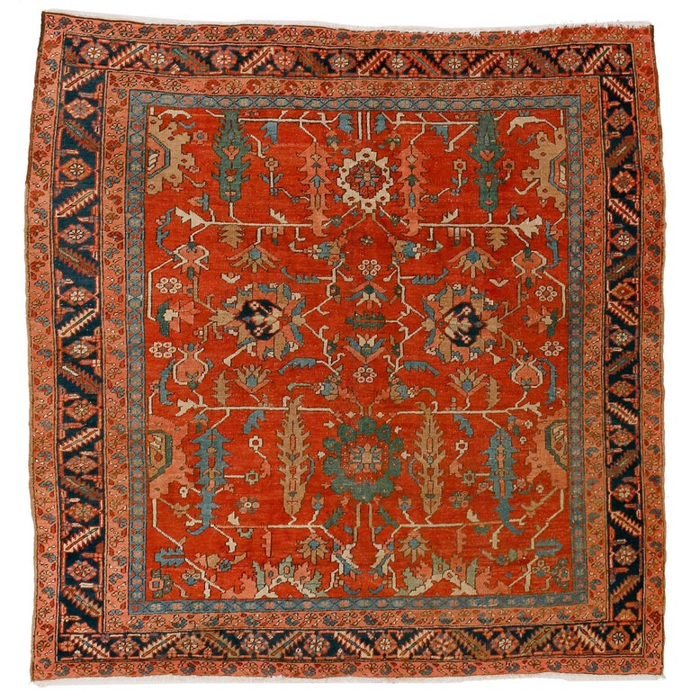 Antique Persian Qashqai Rug With Tulips, Diamond Patterns