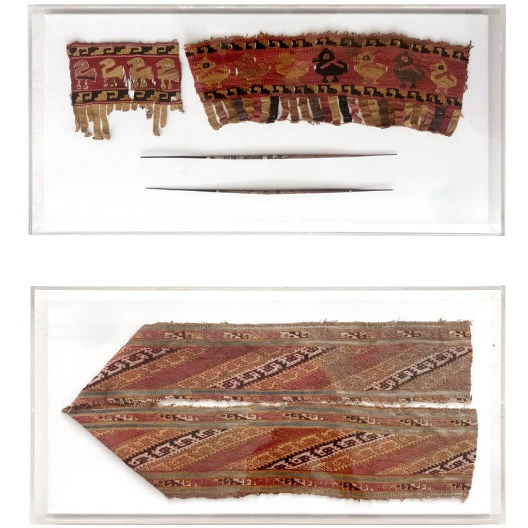Two Framed Pre-Columbian Textile and Tools