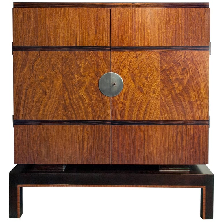 Swedish Art Deco Two-Door Cabinet with Mahogany and Macassar Ebony Veneer For Sale