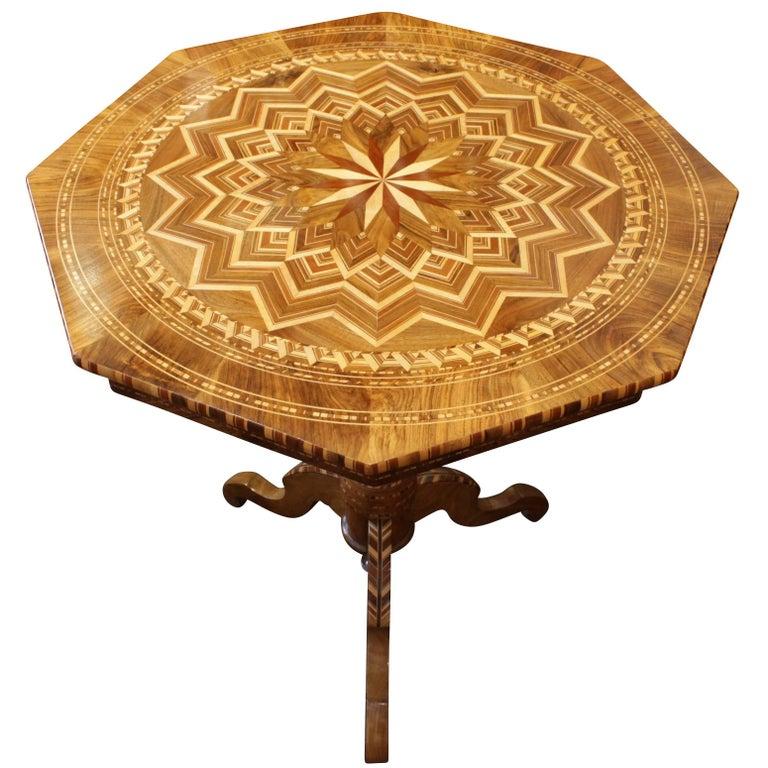 19th Century Biedermeier Marquetry Side Table, Germany