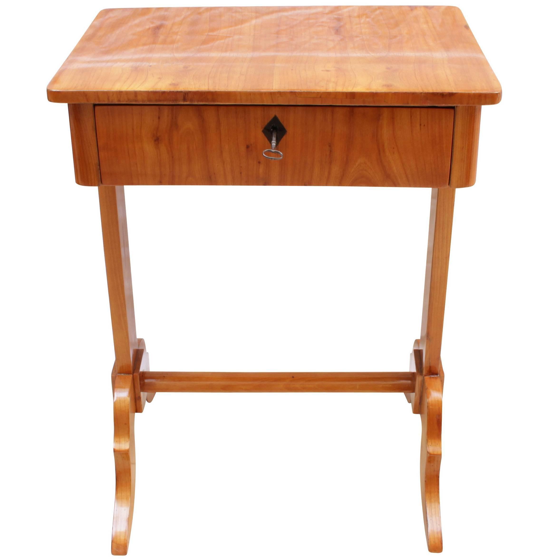 Good 19th Century Biedermeier Sewing Or Side Table Made Of Cherrywood