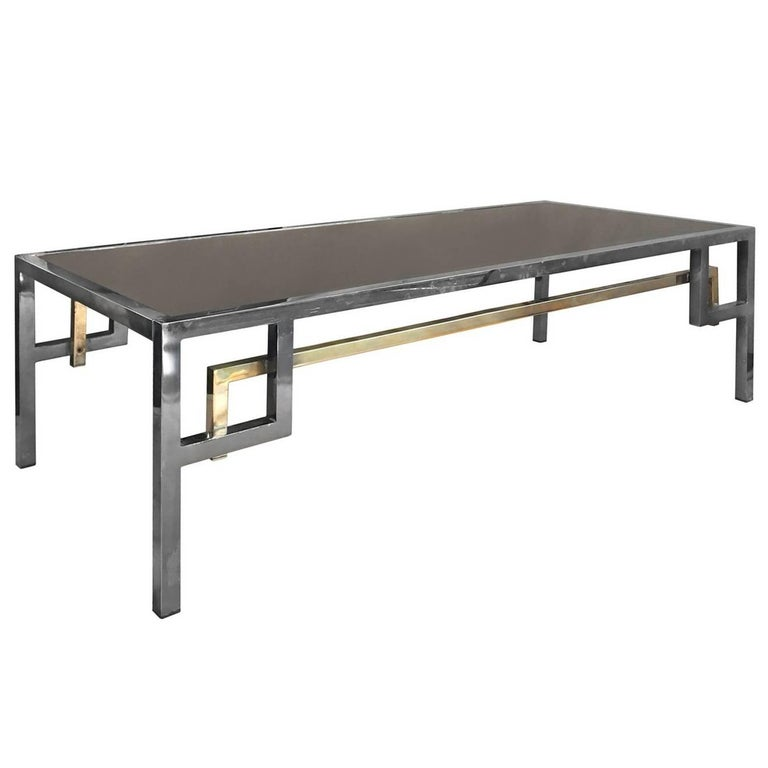 Rectangular Nickel and Brass Coffee Table with Intersecting Corner Detail