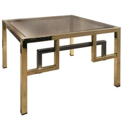 1970s Brass and Chrome Side Table with Square Cut Corners and Chrome Stretcher