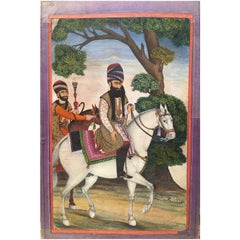 19th Century, Beautiful Qajar Painting of a Sultan