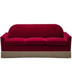 Casino Sofa, Midcentury Style Velvet Sofa with Fringe Skirt