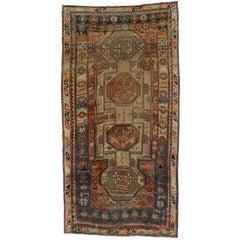Vintage Caucasian Kazak Tribal Rug, Wide Hallway Runner