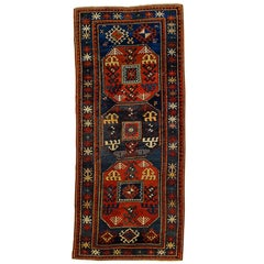 19th Century Kazak Chajli Caucasian Rug Hand-Knotted Wool Red and Blue