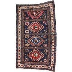 Antique Caucasian Kazak Tribal Rug with Compartment Design
