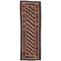 Antique Caucasian Gendje Kuba Runner with Tribal Style, Hallway Runner