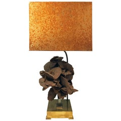 Brass Table Lamp with Sandstone Bloom by Willy Daro
