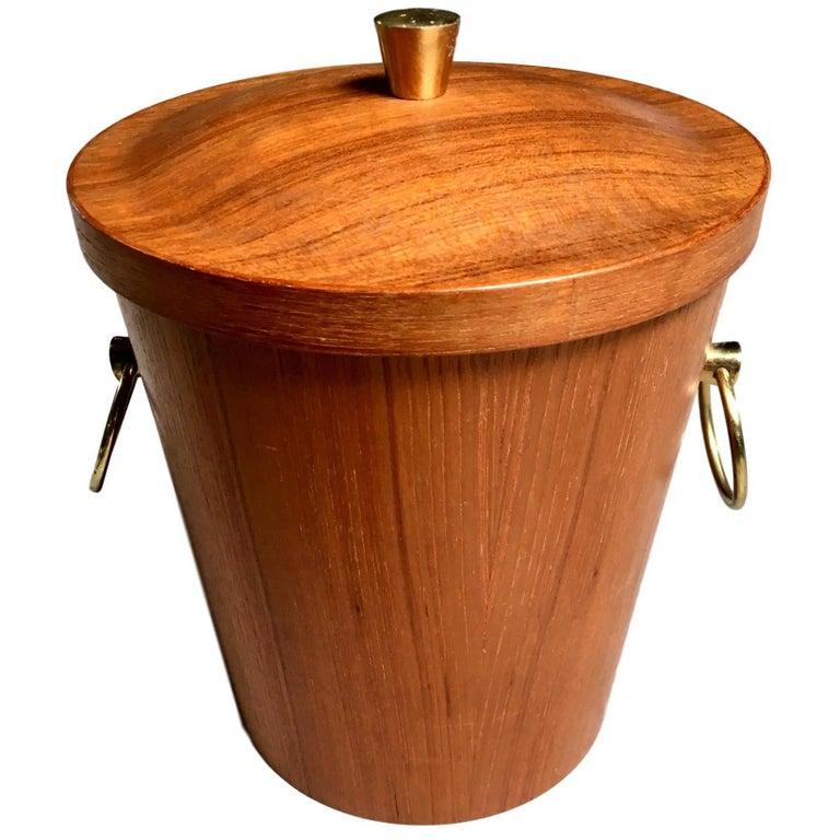 Teak and Brass Ice Bucket