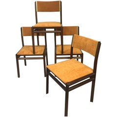 Set of Four Rosewood Dining Chairs, Domino by Stildomus, Italy, 1960s