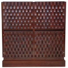 Brutalist Bar in Mahogany Wood Cabinet by Musterring