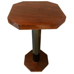 Tiny Art Deco Side Table, Walnut Veneer, Shellac Hand-Polish, France, circa 1930