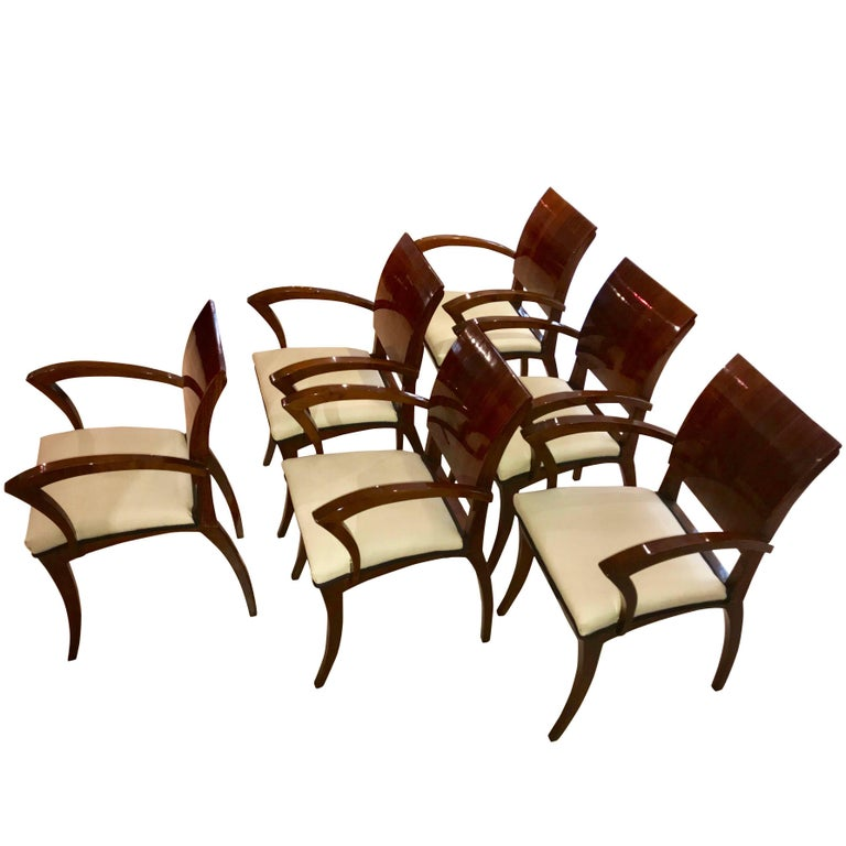 Set of Six Art Deco Armchairs, Rosewood and Beech, France, circa 1925 For Sale