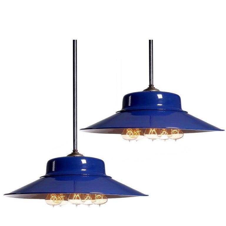 Desirable Cobalt Blue Five-Bulb Benjamin Pendents