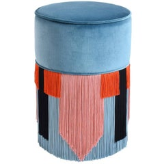 Couture Tall Blue Pouf with Geometric Fringe