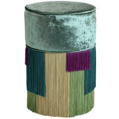 Couture Tall Green Pouf with Geometric Fringe
