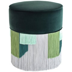 Couture Green Pouf with Geometric Fringe