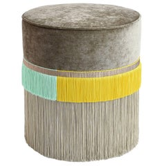 Couture Beige Pouf with Line Fringe
