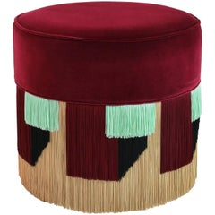 Couture Red Pouf with Geometric Fringe