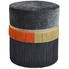 Couture Gray Pouf with Line Fringe