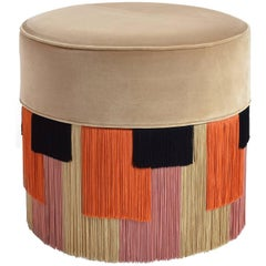 Couture Pouf with Geometric Fringe