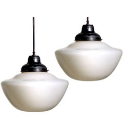 Large Deco Milk Glass School House Pendants