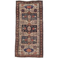 Antique Caucasian Shirvan Runner with Tribal Style, Wide Hallway Runner