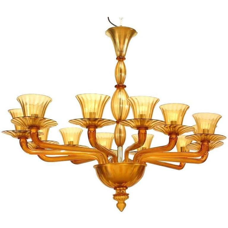 Italian 1940s Venetian Murano Amber Fluted Glass Oval Shaped Chandelier