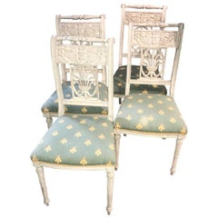 Set of Four French Neoclassical Side Chairs