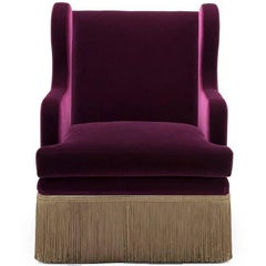 Carlton Wing Chair, Midcentury Velvet Armchair with Fringe Skirt