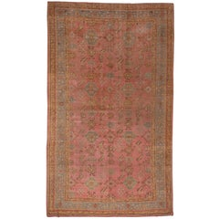 Pink Field Antique Oushak, circa 1920s