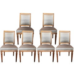 Set of Six 19th Century Louis XVI Style Walnut Chairs