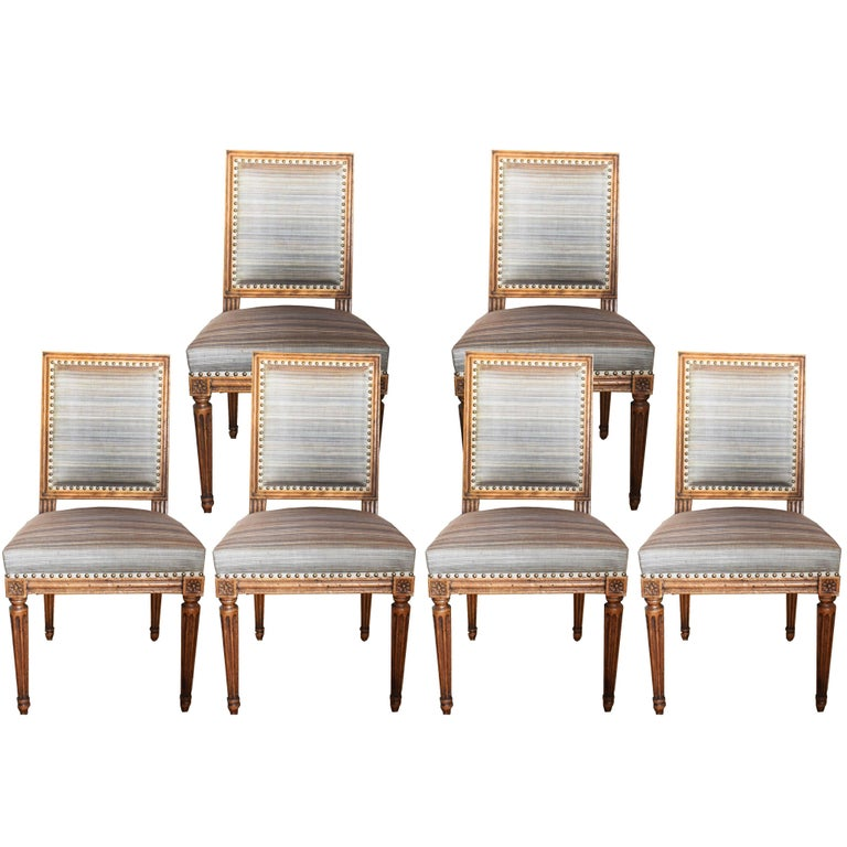 Set of Six 19th Century Louis XVI Style Walnut Chairs For Sale