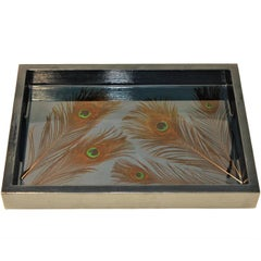 Contemporary Resin Wooden Tray with Peacock Feathers