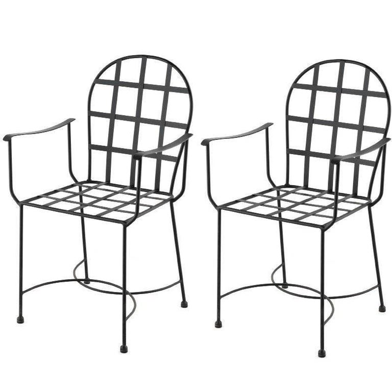 Pair of Two Garden Armchairs in Black Wrought Iron