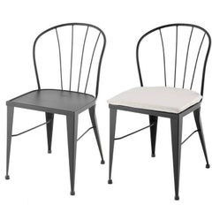 Pair of Two Garden Chairs in Brown Wrought Iron with Cushions