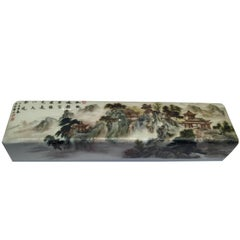 Enamelled 'Landscape' Scroll Weight