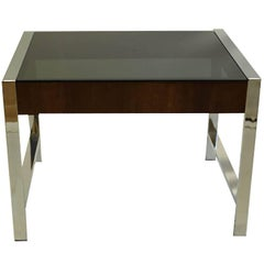 Midcentury Chrome and Smoke Glass Side Table, circa 1970s