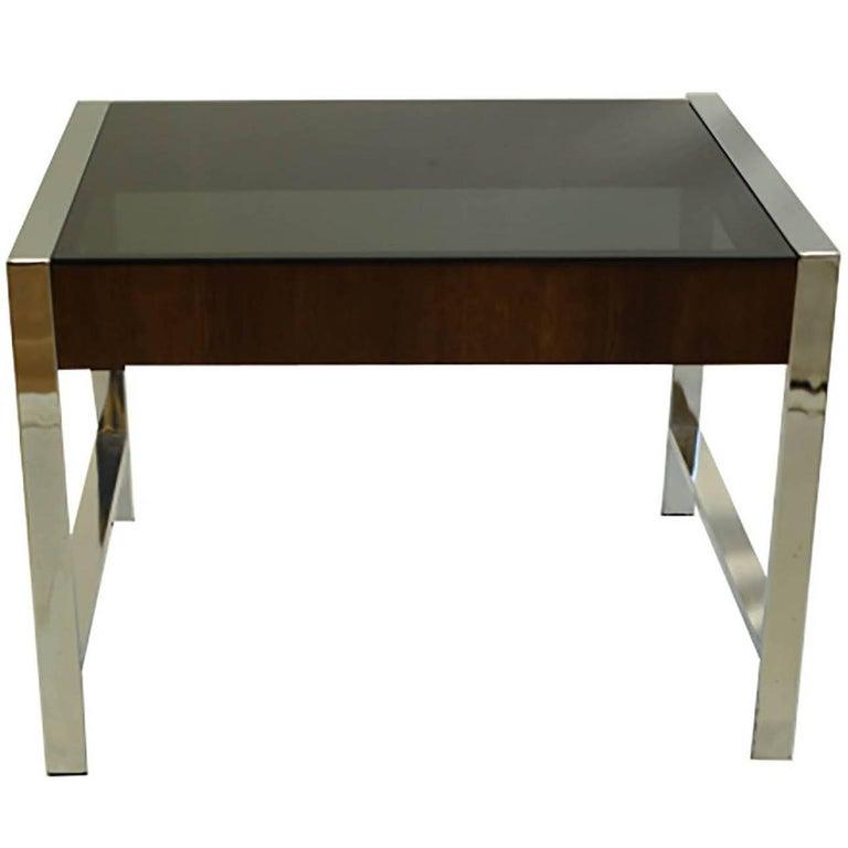 Midcentury Chrome and Smoke Glass Side Table, circa 1970s