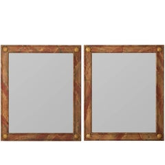 Pair of Faux Marble Mirrors with Gilt Shell Corner Motifs, circa 1930s
