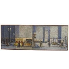 Urban Street Scene Painting, Mid-20th Century