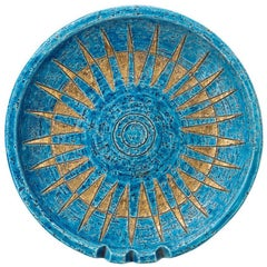 Bitossi Ceramic Bowl Ashtray Sunburst Rimini Blue Gold Signed, Italy, 1960s