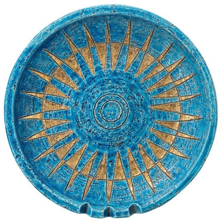 Bitossi Ceramic Bowl Ashtray Sunburst Rimini Blue Gold Signed, Italy, 1960s