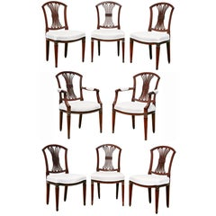 Set of Eight Dutch Neoclassic Mahogany Dining Chairs