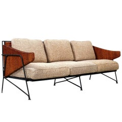 Rare Salterini Iron and Cane Sofa