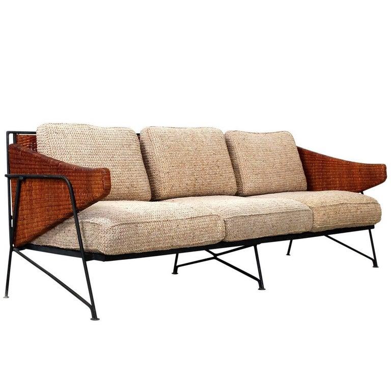 Rare Salterini Iron and Cane Sofa